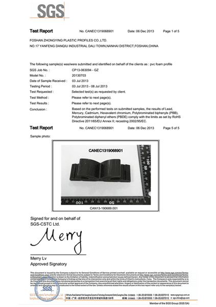 Upvc Foaming profiles SGS report
