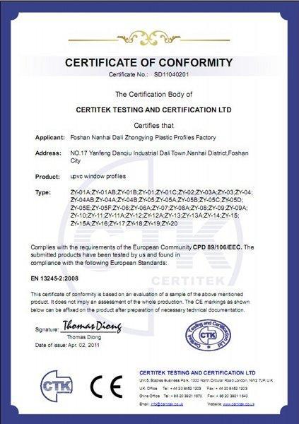 UPVC Windows Profiles CE report