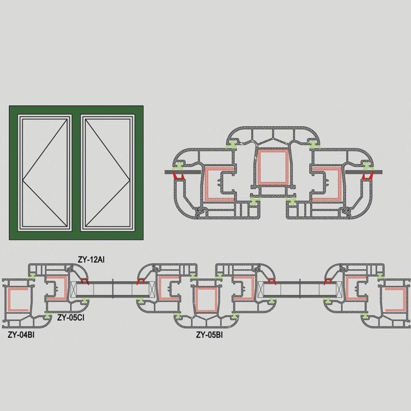Upvc Casement Window Profile - 62# Thicken Serise